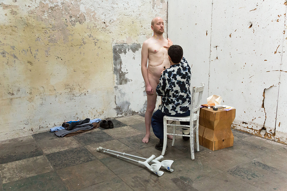 Hélène Gugenheim, Mes cicatrices Je suis d'elles, entièrement tissé. Antoine, 14 juin 2016. Photo : Florent Mulot