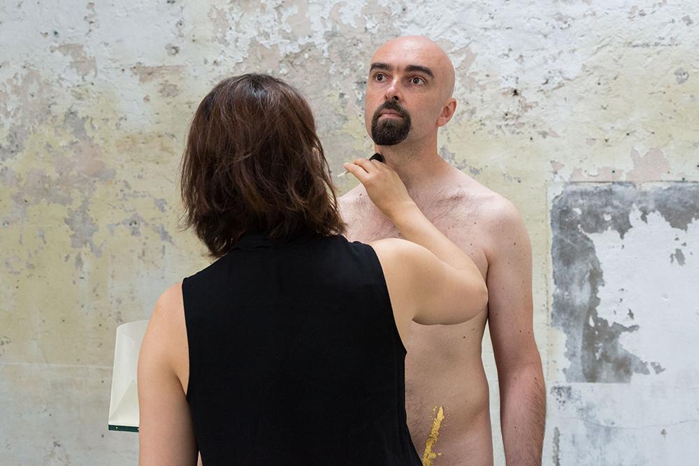 Hélène Gugenheim, Mes cicatrices Je suis d'elles, entièrement tissé. Olivier, 29 juin 2016. Photo : Florent Mulot